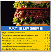 Menu Board fat burgers