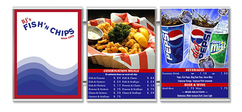 Stainless Steel Magnetic Menu Boards BJ's Fish