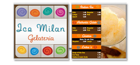 Stainless Steel Magnetic Menu Boards Ice Milan