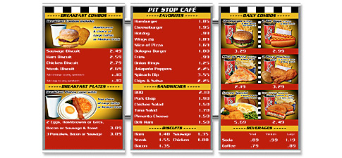 Stainless Steel Magnetic Menu Boards Pit Stop Café
